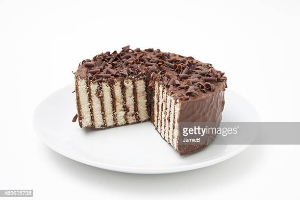Chocolate layer cake on a plate