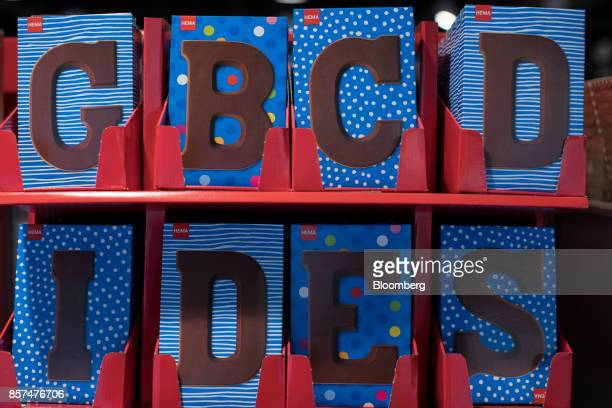 Chocolate letters sit on display inside a Hema BV store in Tilburg Netherlands on Wednesday Oct 4 2017 Privateequity firm Lion Capital LLP which...