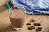 Chocolate milk in glass