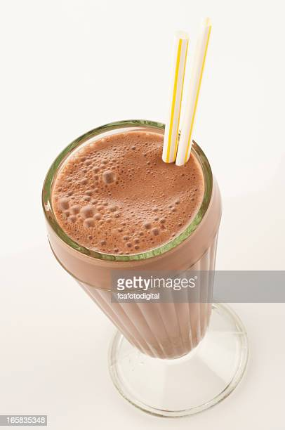 Chocolate milkshake glass in high angle view