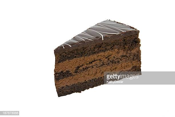 Chocolate Mousse Cake isolated on white