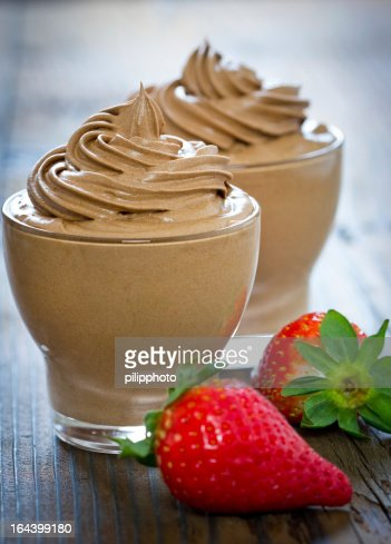 Chocolate mousse with strawberry : Stock Photo