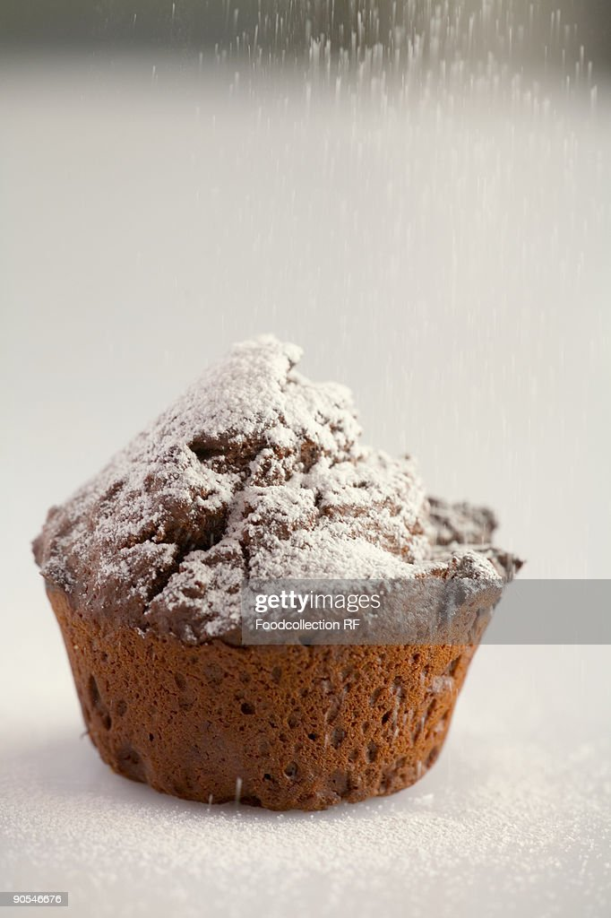 Chocolate muffin with icing sugar, close up