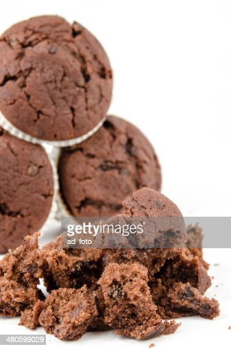 Chocolate muffins isolated on white : Stock Photo