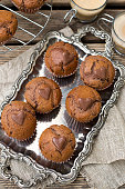 Sweet chocolate muffins with chocolate chips and chocolate heart