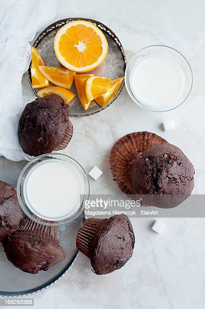 Chocolate muffins with milk and orange