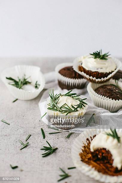 Chocolate muffins with rosemary buttercream
