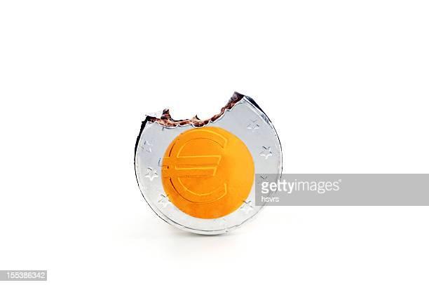 Moneta da un Euro al cioccolato con parte po'