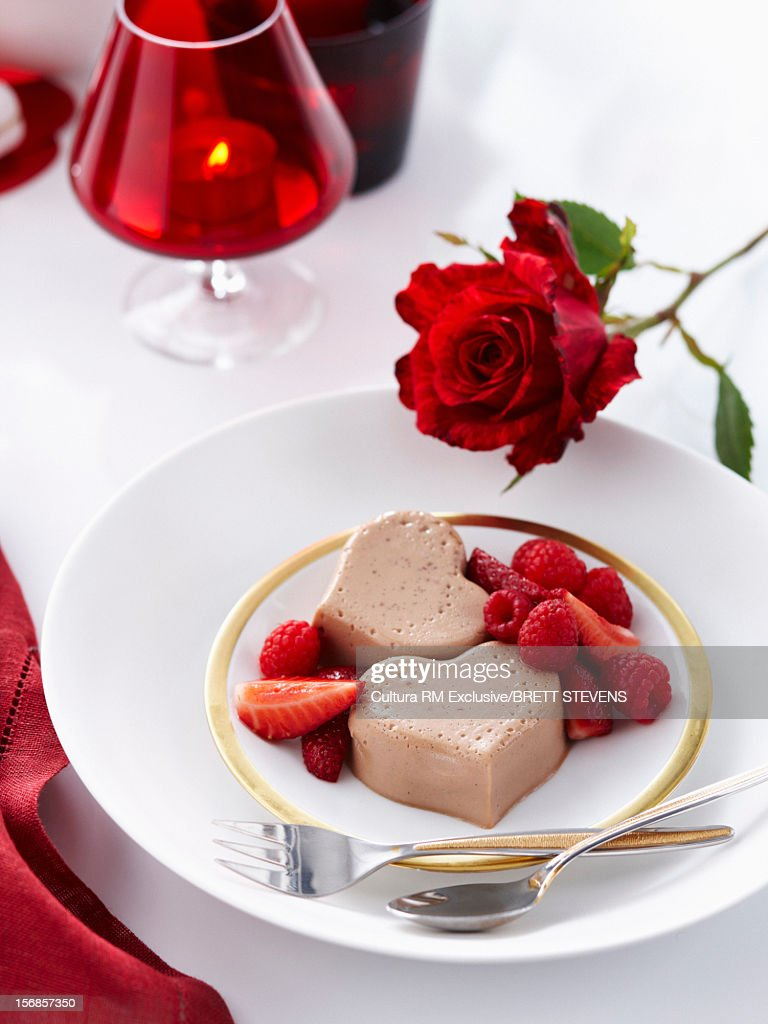 Chocolate panna cotta with berries : Stock Photo