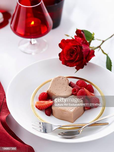 Chocolate panna cotta with berries