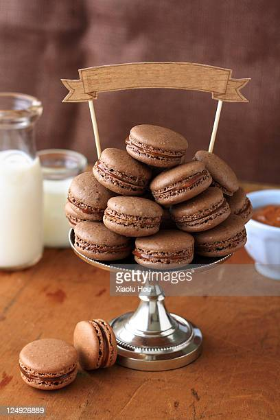 Chocolate peanut caramel french macarons
