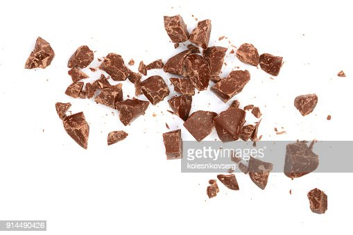 Chocolate pieces isolated on white. Top view. Flat lay : Stock Photo