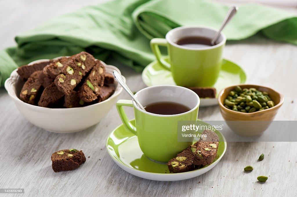 Chocolate pistachio biscuit : Stock Photo