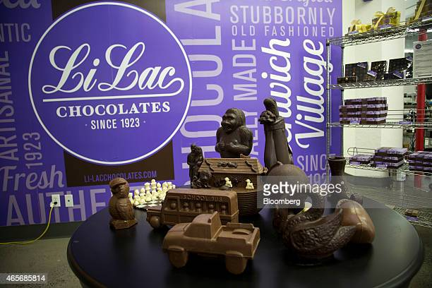 Chocolate products are displayed at the LiLac Chocolates factory inside the Industry City complex in the Sunset Park section of the Brooklyn borough...