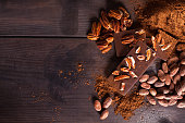 Chocolate products. Chocolate, cocoa beans, cocoa and nuts on wooden background.