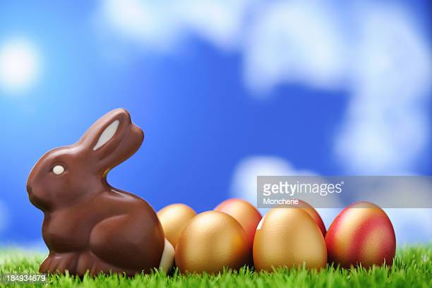 Chocolate rabbit with golden easter eggs