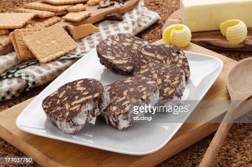 Chocolate salami : Stock Photo