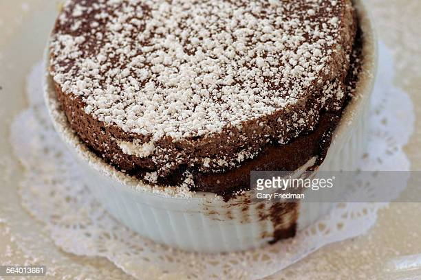 Chocolate souffle from Maximilian's which is located at 11330 Weddington Ave in North Hollywood