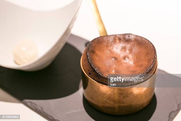 Chocolate Souffle Served in Copper Pot