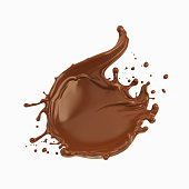 Chocolate splash icon, Cocoa pouring with clipping path 3d illustration.