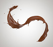 chocolate splash, chocolate isolated on white background, 3d illustration with clipping path.