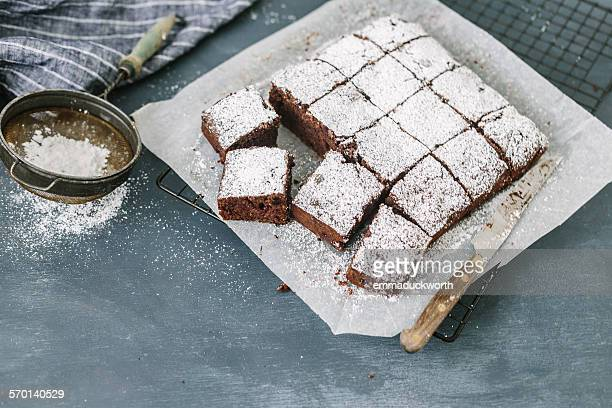 Chocolate Sponge cake with Morello Cherries cut into squares