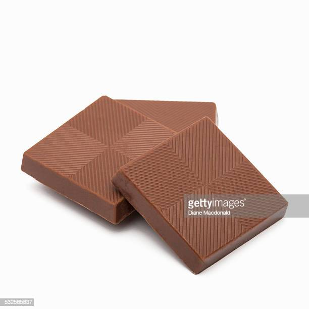Chocolate squares on a white background