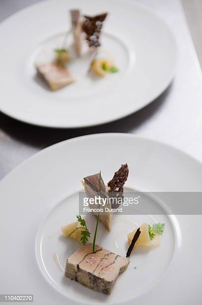 A chocolate tasting Foie Gras dish is created at the 'Un Dimanche A Paris' store on March 17 2011 in Paris France 'Un Dimanche A Paris' Chocolate...