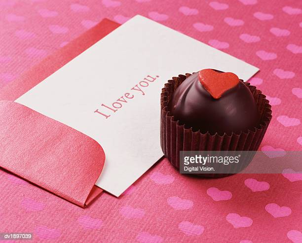 Chocolate Truffle With a Card Saying I Love You