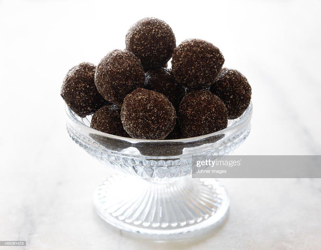 Chocolate truffles in glass bowl