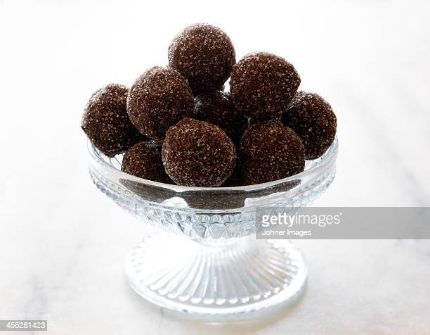 Chocolate truffles in glass bowl
