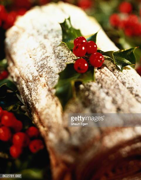 Chocolate yule log surrounded by holly, close-up