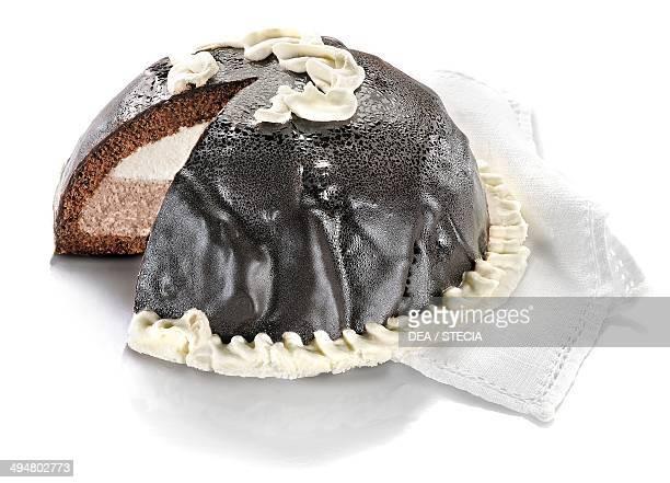Chocolate zuccotto semifreddo with sponge cake and ice cream