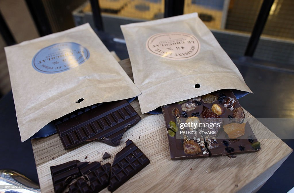 Chocolates are pictured at French chef Alain Ducasse's new establishment, the 'Manufacture de chocolat' (Chocolate Factory), on February 19, 2013 in Paris.