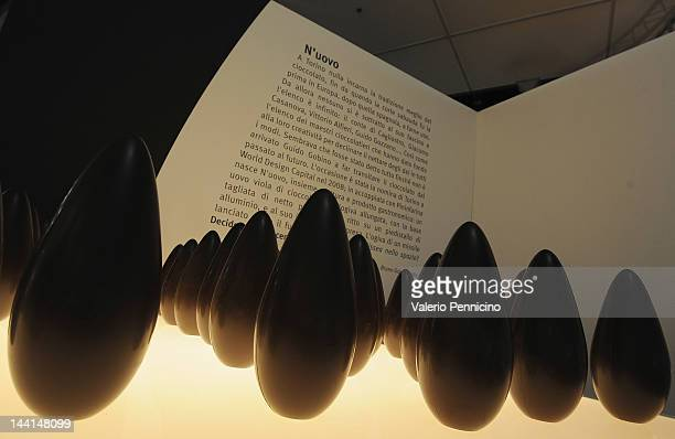 Chocolates from the Gobino N' uovo are displayed at the 'La citta' visibile' during the 2012 International Book Fair of Torino on May 10 2012 in...