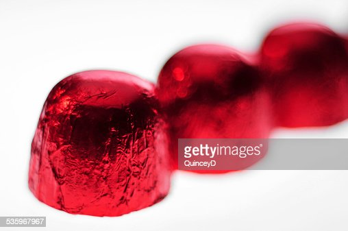 Chocolates in Red Wrapper : Stock Photo