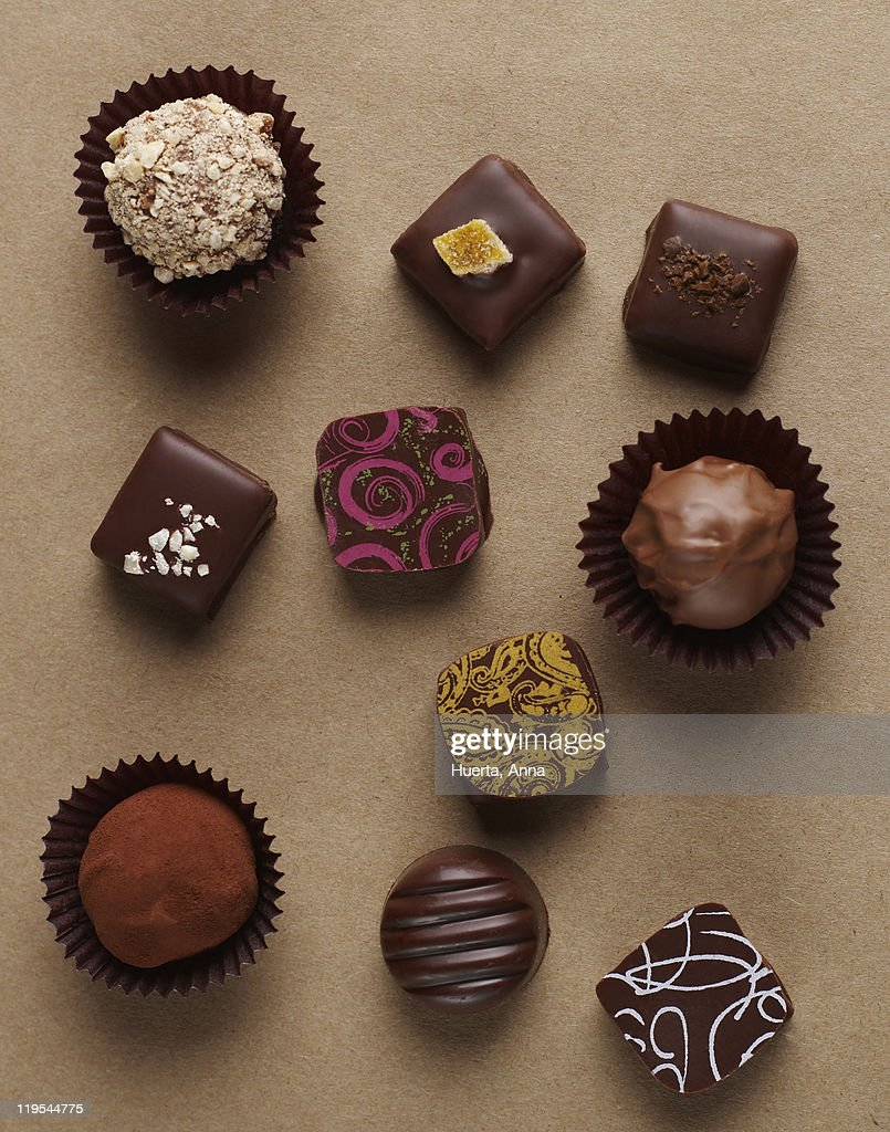 Chocolates on brown background