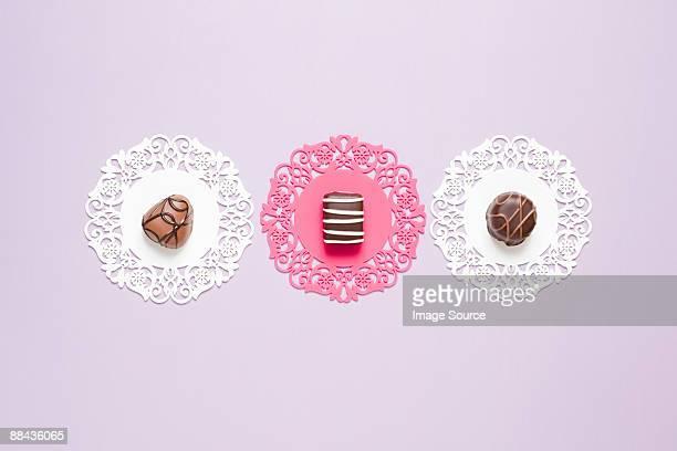 Chocolates on doilies