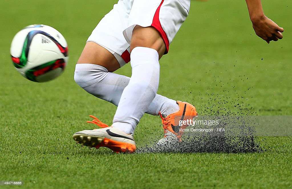 Choe Jin Nam of Korea DPR passes the ball downfield during the Costa Rica v Korea DPR Group E FIFA U17 World Cup Chile 2015 match at Estadio...