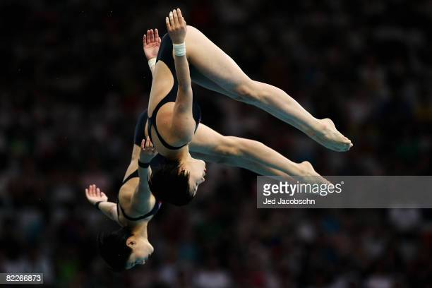Choe Kum Hui of North Korea and Kim Un Hyang of North Korea competes in the Women's Synchronised 10m Platform Final held at the National Aquatics...