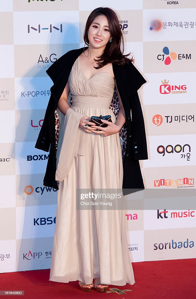 Choi Hee poses for photographs upon arrival during '2nd Gaonchart K-pop Awards' at Olympic Hall on February 13, 2013 in Seoul, South Korea.