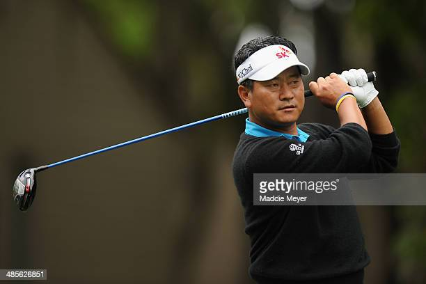 J Choi hits a tee shot on the 2nd hole during the third round of the RBC Heritage at Harbour Town Golf Links on April 19 2014 in Hilton Head Island...