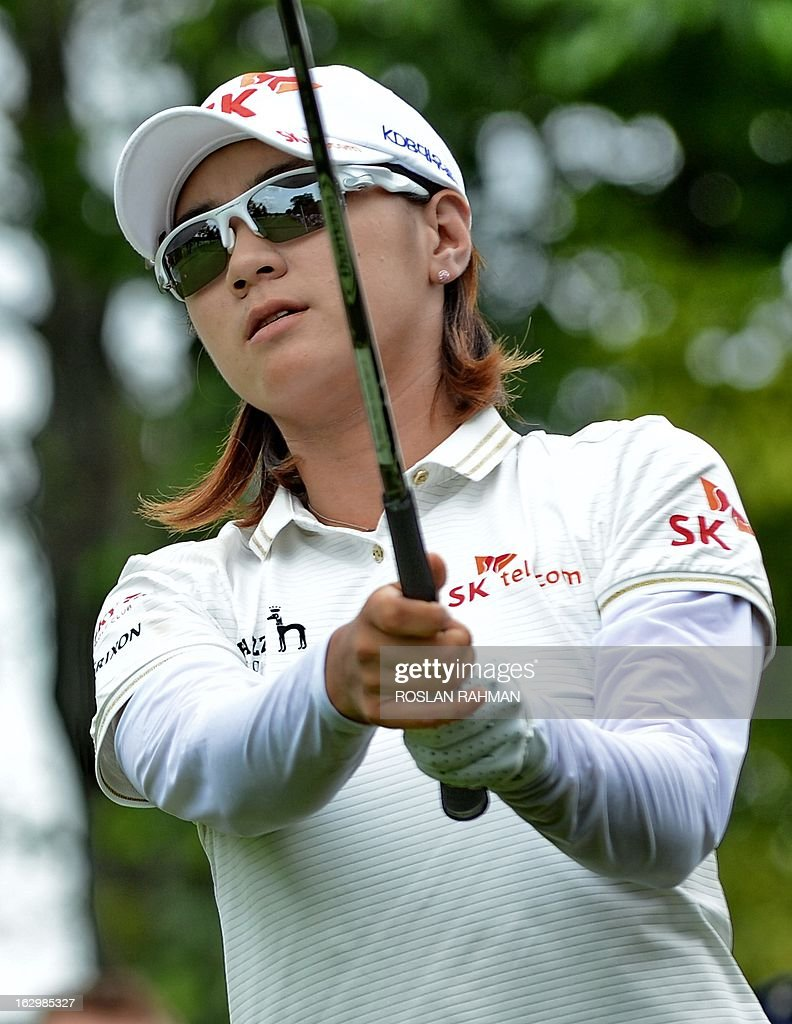 Choi Na Yeon of South Korea hits a shot during the final round of the HSBC Women's Champions LPGA golf tournament at the Serapong Course in Singapore on March 3, 2013. The 1.4 million USD tournament takes place from February 28 to March 3.