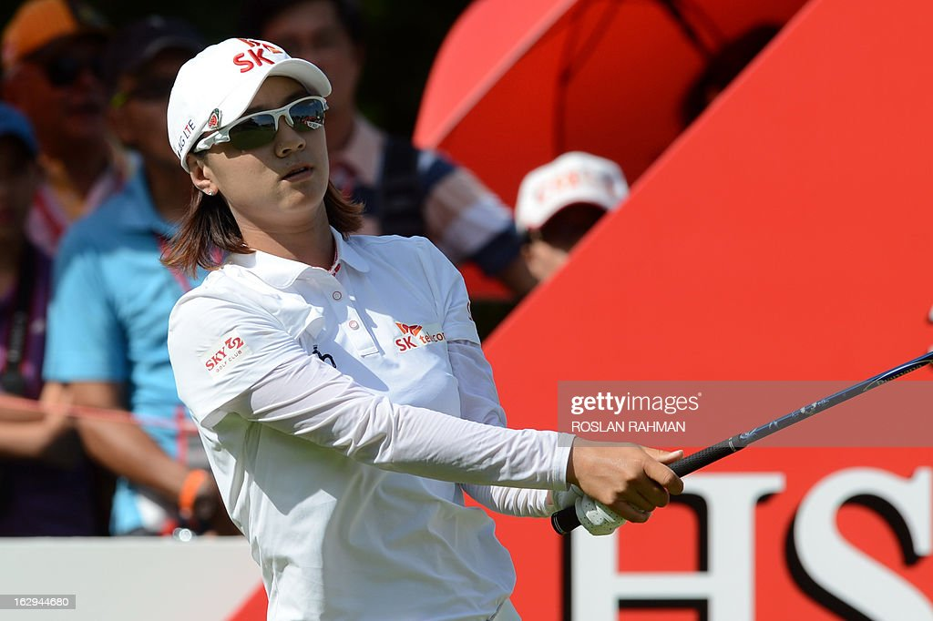 Choi Na Yeon of South Korea looks on after her tee-off during round three of the HSBC Women's Champions LPGA golf tournament at the Serapong Course in Singapore on March 2, 2013. The 1.4 million USD tournament takes place from February 28 to March 3. AFP PHOTO / ROSLAN RAHMAN