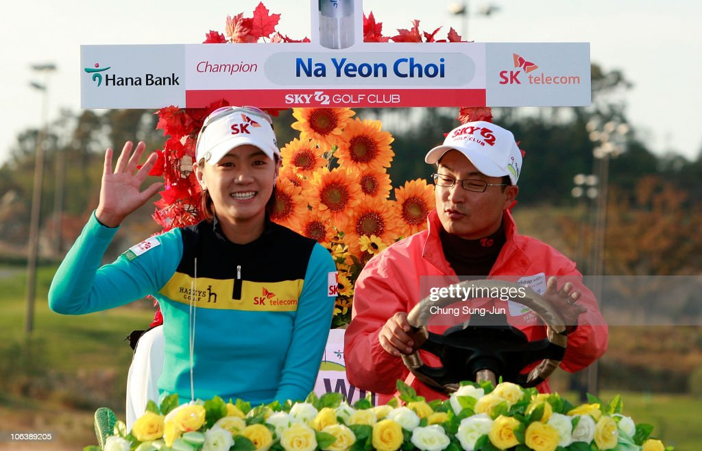 Choi Na-Yeon of South Korea waves hand to the fans during the award ceremony of the final round of the 2010 LPGA Hana Bank Championship at Sky 72 Golf Club on October 31, 2010 in Incheon, South Korea.