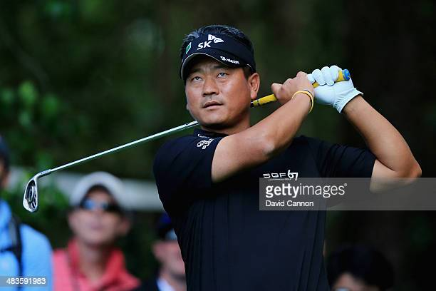 J Choi of Korea hits a shot during the 2014 Par 3 Contest prior to the start of the 2014 Masters Tournament at Augusta National Golf Club on April 9...