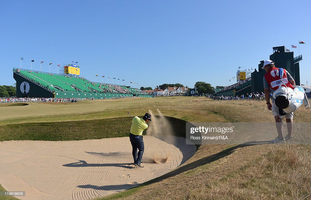 KJ Choi of Korea hits from a bunker on the 18th hole during the second round of the 142nd Open Championship at Muirfield on July 19, 2013 in Gullane, Scotland.