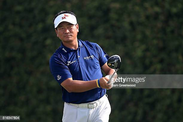 J Choi of Korea hits his tee shot on the ninth hole during the second round of the Arnold Palmer Invitational Presented by MasterCard at Bay Hill...