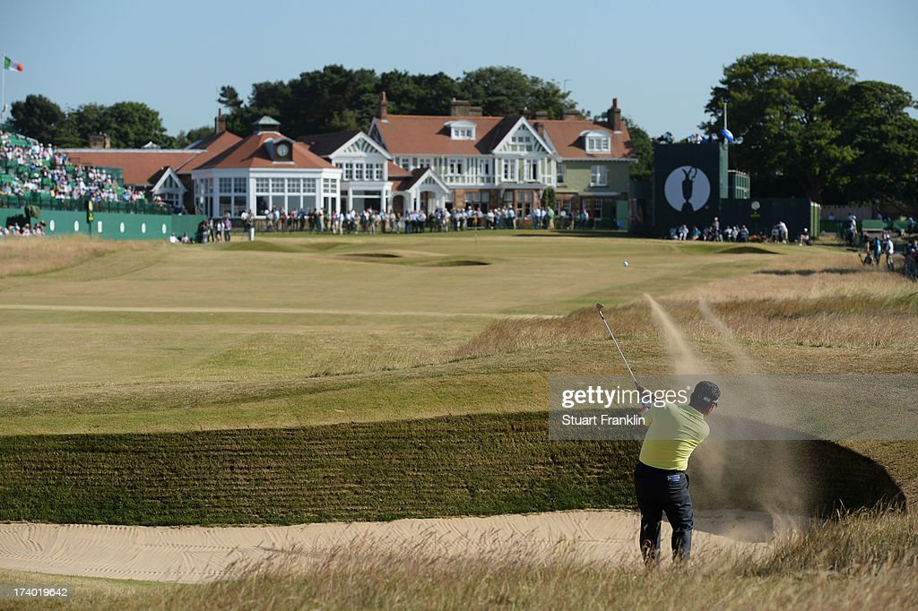 KJ Choi of Korea hits out of the bunker on the 18th during the second round of the 142nd Open Championship at Muirfield on July 19, 2013 in Gullane, Scotland.