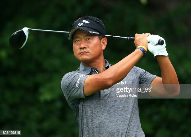 J Choi of Korea plays his shot from the 16th tee during round one of the RBC Canadian Open at Glen Abbey Golf Club on July 27 2017 in Oakville Canada